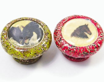 Stone Fleck Knobs with Horses, Dogs, Cats or Farm Animals, Country and Farmhouse Decor, Buy One or A Dozen, Only What You Need