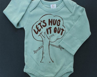 Treehugger long sleeve bodysuit Let's hug it out organic cotton baby clothes screen printed tree hipster baby