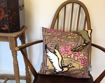 Beautiful Dove and Cherry Blossom Fine Art Cushion.