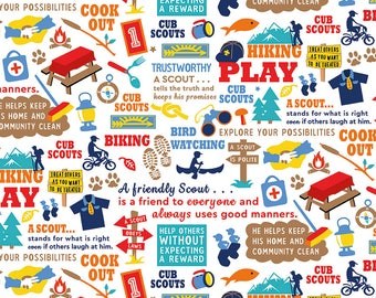 SALE Cub Scouts Main White - Riley Blake Designs - Boy Scouts Hiking - Quilting Cotton Fabric - choose your cut