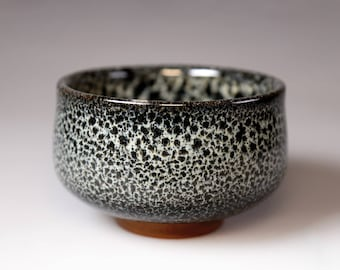 Tenmoku Chawan- Glost-fired Earthen Teacup- Rich texture