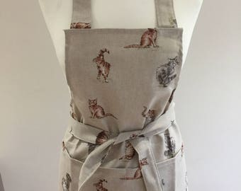 Adult's Apron - Fluffy Kitty Cat fabric