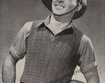 1940's Mens Vest ... Mens Sleeveless Vest ... PDF Knitting Pattern ... Smart, Useful, Simple ... Instant Download