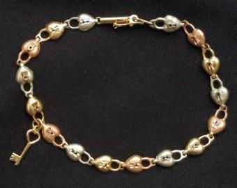 Vintage 14k Multi Gold Heart Lock Key Bracelet Estate Jewelry Ladies