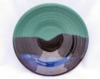 Wide pottery bowl with a mountain landscape pattern- glazed in green, blue, and black (18 oz)- serving bowl, fruit bowl, serving dish