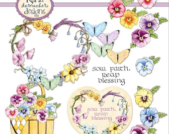 INSTANT DOWNLOAD Pansy Basket Blessings Christian Printable Digital Art Religious Spring Flowers KD137