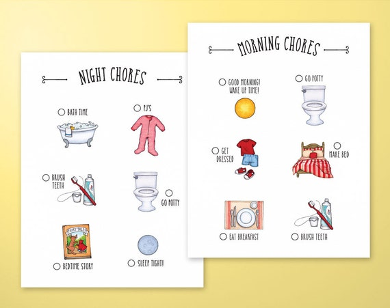 Childrens Morning And Night Time Chore Charts Printable