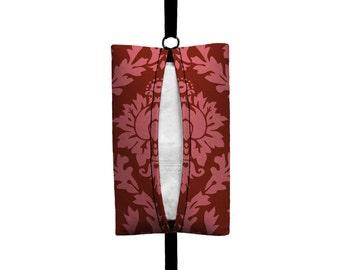 Auto Sneeze - Damask - Visor Tissue Case/Cozy - Car Accessory Automobile - Coral Pink Cranberry Maroon Floral