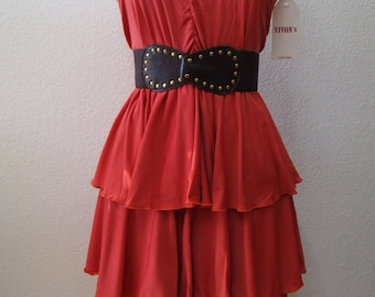 Orange color tube dress with 3 layers plus made in LOCAL U.S.A (v189)