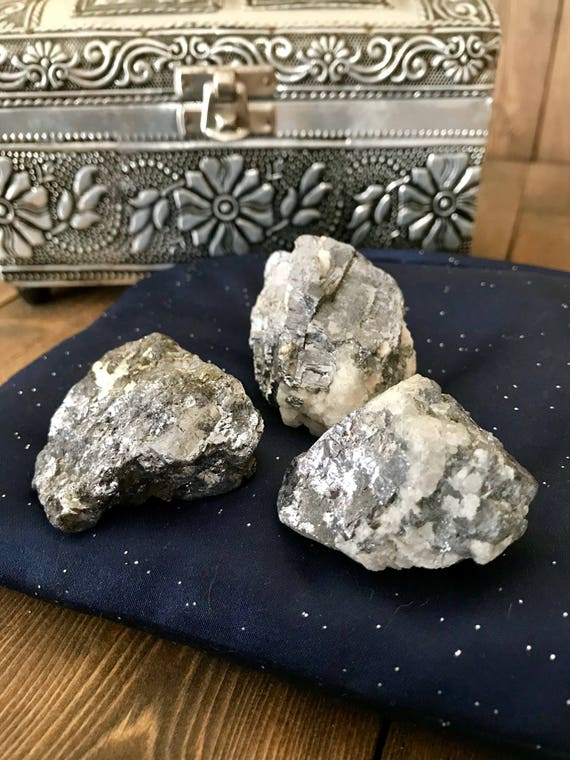 Natural Galena, Raw Galena, Galena Cubes, Silver, Metallic, Grey, Transformation, Spiritual Journey, Palm Stone, Raw Minerals