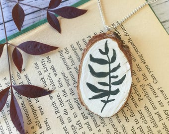 Single Branch of Leaves Green Leaf Pendant Necklace Chain Hand Painted Acrylic Natural Wood Slice  Paint Art Nature Lover Gift Mothers Day