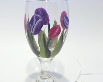 Hand Painted Pink and Purple Tulip Glass Goblet