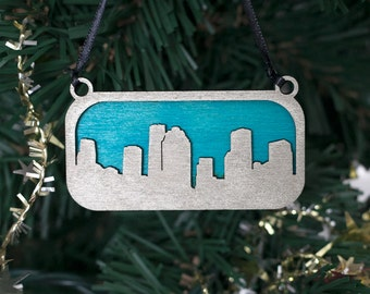Houston Skyline Ornament (Silver & Blue Laser Cut Wood) Holiday / Christmas Cityscape Decor, Texas Gift