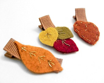 Autumn Leaves Hair Clips, Fall Leaves, Alligator Clips, Embroidered Felt Leaves, Baby Toddler Girls