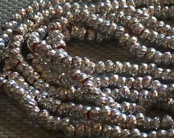 Vintage Silver French Torse Beads (3.5mm wide)(160+Beads) Spacer Beads