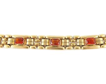 Vintage Topaz Stone Chain Bracelet c. 1960