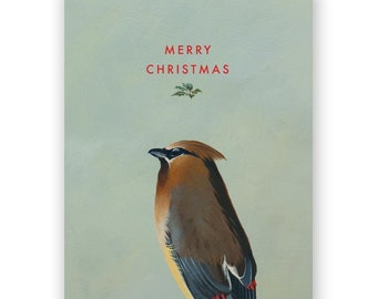 Cedar Waxwing Christmas Card - Birds - Greeting - Stationery