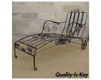 Antique Salterini Fancy Wrought Iron Art Nouveau Reclining Chaise Lounge Chair