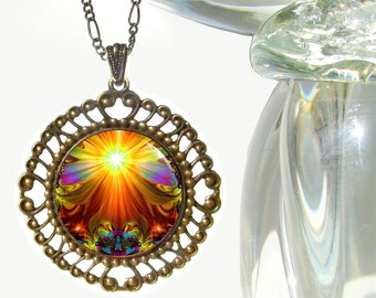 """Psychedelic Art, Chakra Necklace, Unique Jewelry, Statement Jewelry, Boho Necklace, """"Light Being"""""""