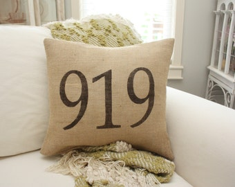 Burlap Pillow - Area Code Pillow/Customizable