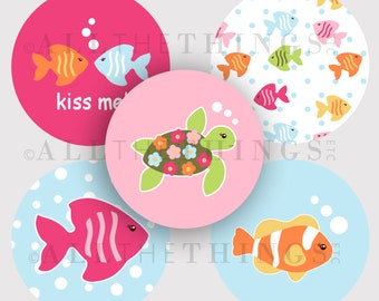 CLEARANCE! FLORAL REEF Tropical Fish Green Sea Turtle Graphics Images Designs Bottle Cap One & Two Inch Circle m2mg Instant Digital Download