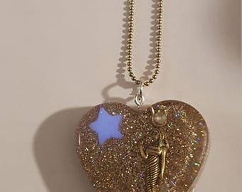 Egyptian goddess isis -gold heart pendant
