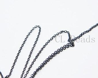 6 Feet Matte Black Plated Brass Chains - Flat Oval 2.2x1.6mm (1808C07)(235SFB)