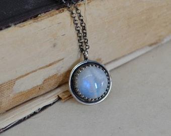 Rainbow Moonstone Necklace Fancy Bezel