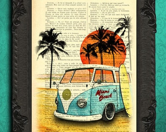 vw bus print summer vibes surf van print road trip art print beach life