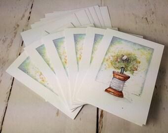 "Sheep Greeting Card (Original artwork by Kristin Farnsworth) Sheep on Spool - Set of 6 4""x5.5"" Blank Cards & Envelopes  GC0001"