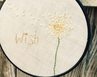 "Dandelion Embroidery Art ~ Wish 5"" Hoop Art ~ Botanical Wall Hanging ~ Boho Stitched Wall Decor ~"