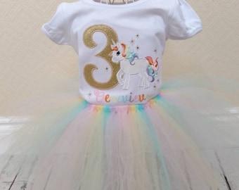 Unicorn Birthday outfit - unicorn birthday - unicorn birthday shirt - unicorn party - birthday shirts - rainbow tutu - unicorn headband