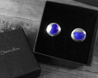 Dark blue enamel and silver cufflinks