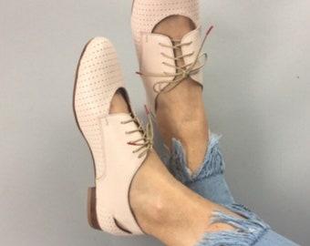 Deva - Oxford Shoes leather - pale pink color