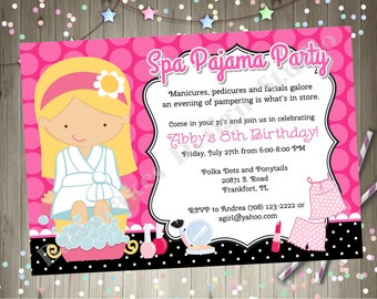 Spa Pajama Party Invitation invite spa party sleepover invitation sleepover spa party birthday invitation CHOOSE YOUR GIRL