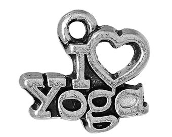"10pcs. Antique Silver ""I love (heart) yoga"" Carved Charms Pendants - 14mm x 13mm (0.55"" x 0.51"")"