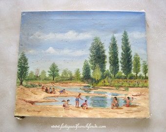Oil on Canvas Painting of Children Signed Raoul Thomas Mid 20th Century Naive Artwork of Children Playing On Holiday Title En Vacance C1940