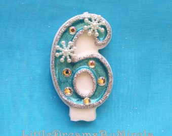 Frozen/ Winter Snow / Birthday Candle / Cake Cupcake Topper/  Keepsake / Any Number