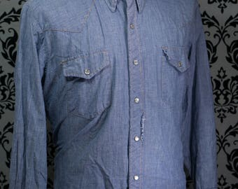 Streets of Laredo Mens Western Pearl Snap Long Sleeve Shirt | Blue | Vintage 1990s | Made in HK |