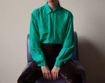 turquoise green silk oversized blouse / button down shirt / silk minimalist top / s / m / 2804t / B18