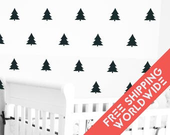 Black Wall Decals Decor Stickers Baby Nursery Pine Trees Forest Pattern Modern & Scandinavian - Sets of 25