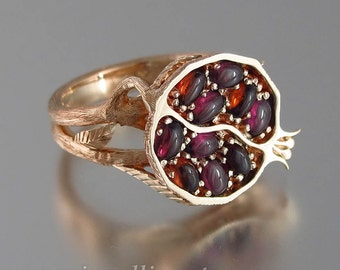 POMEGRANATE 14K rose gold ring with garnets