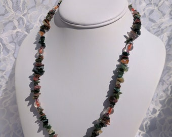 Stone chip and glass bead necklace