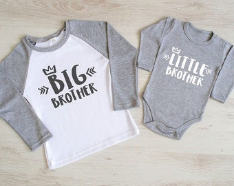 Big Brother Little Brother Outfit. Matching Brother Shirts. Big Brother  Raglan Shirt And Little Brother Baby Bodysuit. Brother Announcement