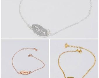Lips chain bracelet in silver, gold & rose gold