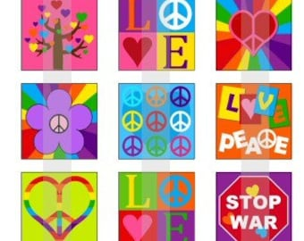 """Peace And Love - one 4x6 inch digital sheet of 1"""" square images for magnets, glass tiles, stickers etc."""