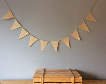 Plain Flag Hessian Bunting For Wedding, Birthday, Party Banner. Vintage Rustic