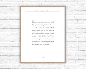 Charlotte's Web Quote | E.B. White quote | Miracle Spider Web | Charlotte's Web Nursery Decor | Motivational Quotes | Classic Lit Quote