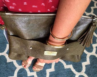 Leather Handle Clutch