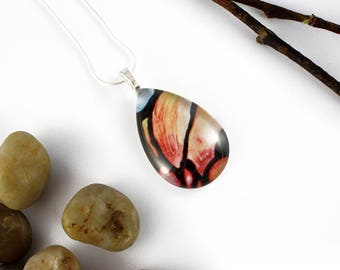 Abstract Magnolia Petals Pendant - Teardrop Necklace - Pink Petals Glass Pendant - Stained Glass Jewelry - Art Nouveau Necklace -Abstract